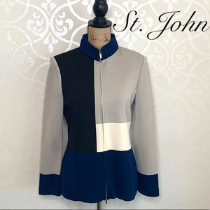 ST. JOHN KNIT SIZE 6 BLUE/GREY ZIP FRONT SWEATER